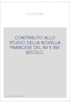 CONTRIBUTO ALLO STUDIO DELLA NOVELLA FRANCESE DEL XV E XVI SECOLO.