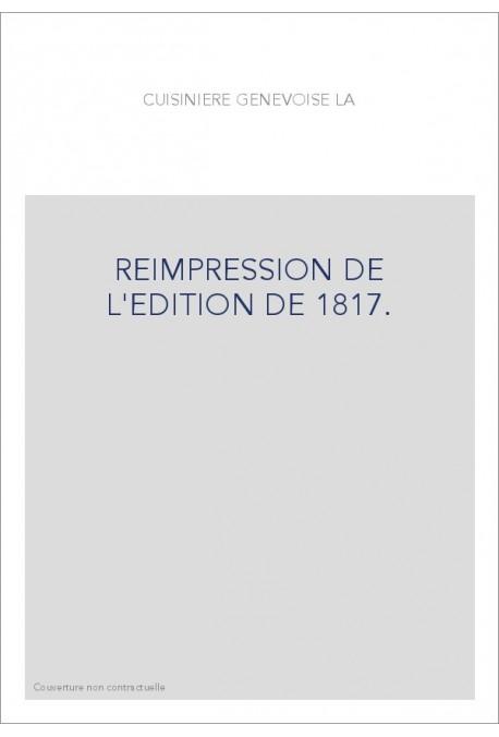 REIMPRESSION DE L'EDITION DE 1817.