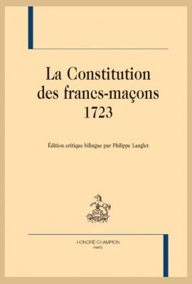 LA CONSTITUTION DES FRANCS-MAÇONS, 1723
